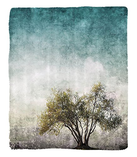 Chaoran 1 Fleece Blanket on Amazon Super Silky Soft All Season Super Plush Tree of Life Decor Collection Grunge Lscape withingle Tree tained Retro Background Rustic Home Fabric et Teal Beige by chaoran (Image #6)