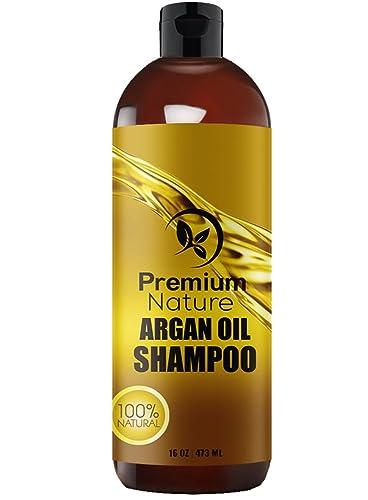 Argan Oil Organic Daily Shampoo - 473 ml Rejuvenates Heat Damaged Hair Nourishes & Prevents Breakage Sulfate Free - All Hair Types - Dry Damaged Colored Hair - Volumizing & Moisturizing Premium Nature