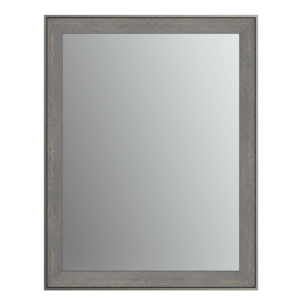 Delta Wall Mount 21 in. x 28 in. Small (S1) Rectangular Framed Flush Mounting Bathroom Mirror in Weathered Wood with Standard Glass