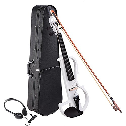 AW 4/4 Electric Violin Full Size Wood Silent Fiddle Musical Instrument Fittings Headphone White