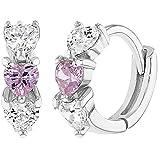 925 Sterling Silver Clear Pink CZ Heart Baby Hoop Earrings Infant Girl 0.39'