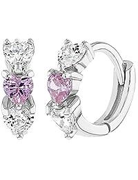 "925 Sterling Silver Clear Pink CZ Heart Baby Hoop Earrings Infant Girl 0.39"""