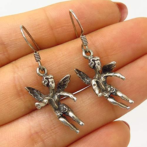 VTG 925 Sterling Silver Cherub Angel Design Dangling Earrings