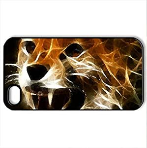 3d cat - Case Cover for iPhone 4 and 4s (Cats Series, Watercolor style, Black)