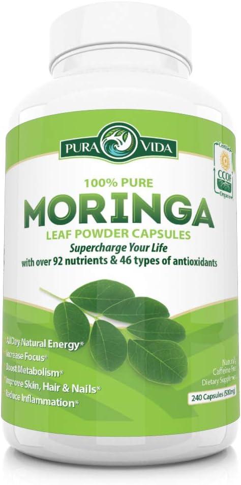 Organic Moringa Oleifera Powder Capsules Energy, Metabolism, and Immune Booster. Natural Anti-Inflammatory. Rich in Nutrients and Antioxidants. Non-GMO, Nicaragua Single Origin 240 Caps of 500mg