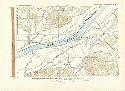 Tell City Kentucky 1908 original antique lithograph topographic map