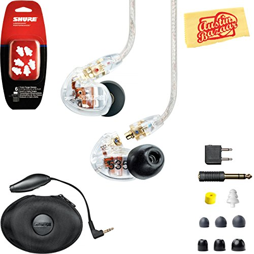 - Shure SE535 Sound Isolating Earphones - Clear Bundle with Triple Flange Sleeves, Sleeve Fit Kit, Carrying Case, and Austin Bazaar Polishing Cloth