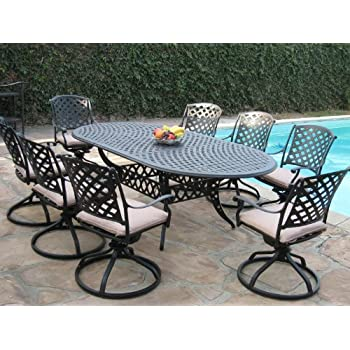 Cast Aluminum Outdoor Patio Furniture 9 Piece Expandable Dining Set  DS 09KLSS260180T All Swivel Rockers