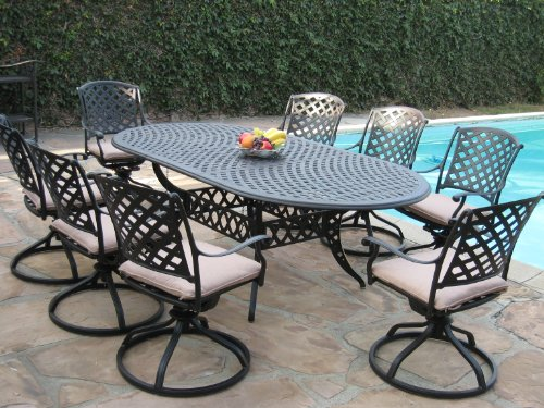 Cast aluminum outdoor patio furniture 9 piece expandable for Affordable outdoor dining sets
