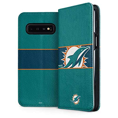 (Skinit Miami Dolphins Galaxy S10 Plus Folio Case - Officially Licensed NFL Phone Case - Faux-Leather Wallet Galaxy S10 Plus Cover)