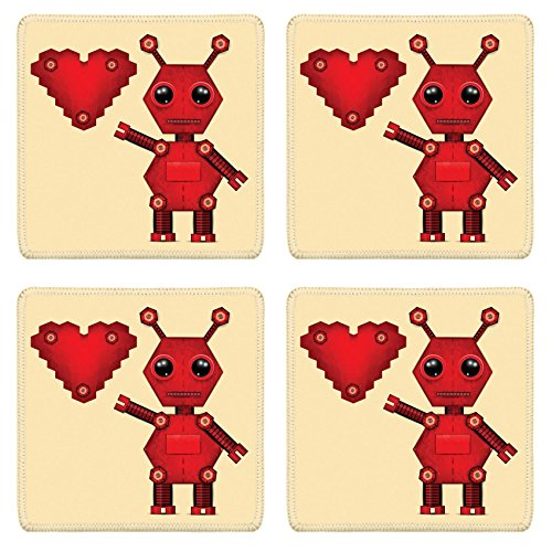 - Liili Square Coasters Non-Slip Natural Rubber Desk Pads Illustration of red valentine robot with heart Clip art Illustration 27943981