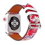 HotGlows Replacement Strap Wrist Watch Band Compatible with Apple Series 1 Series 2 Series 3 2017 (38mm, Red-38mm)