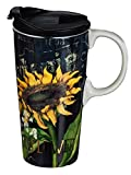 Cypress Home Ceramic Travel Coffee Mug with Matching Gift Box, Sunflower Splendor, 17 Ounces