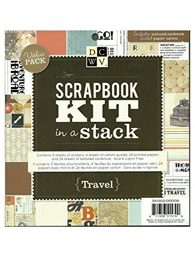- DCWV SK-002-00009 Scrapbook Kit in a Stack, 8 by 8-inches, Travel