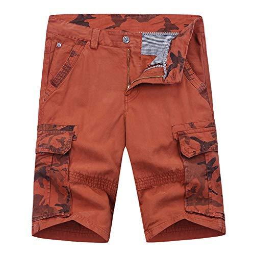 YKARITIANNA Men's Jersey Short with Pockets 2019 New Short Soft Pants Orange