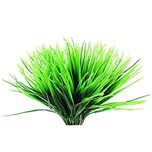 Plastic Wheatgrass (8 Bunches); Artificial Wheat Grass Greenery Shrubs Stalks Fake Decorating Shrubs for Indoor/Outdoor Imitation Plants 1