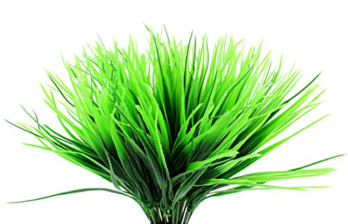 Plastic Wheatgrass (8 Bunches); Artificial Wheat Grass Greenery Shrubs Stalks Fake Decorating Shrubs for Indoor/Outdoor Imitation Plants