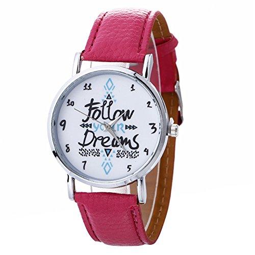 rainbabe - Reloj de pulsera para mujer Inglés patrón de aleación de reloj con correa de piel sintética: Amazon.es: Relojes