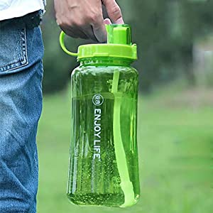2L Large Capacity Plastic Space Cup Free Leak Proof Portable Wide Mouth Water Bottle Travel Mugs with Straw for Summer Outdoor Sports