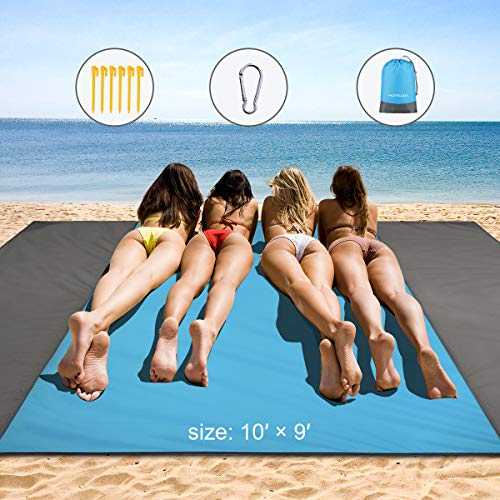 HAMSWAN Beach Blanket, Waterproof and Sand Free Beach Blanket]()