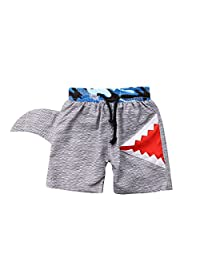 Binwwede Creative Baby Boys Swimming Trunks Drawstring Shark Design Grey Beach Shorts