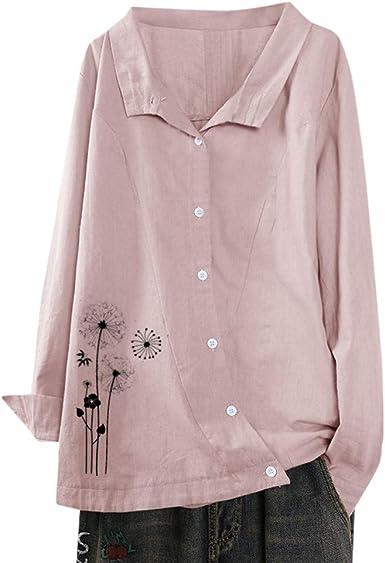 VJGOAL - Camisa de Mujer de Lino con Estampado de Diente de león y Manga Larga, Color Blanco Rosa L: Amazon.es: Ropa y accesorios