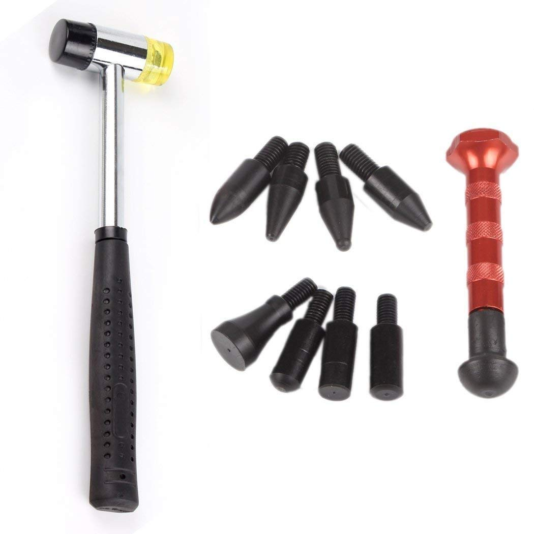 Car Body Paintless Dent Repair PDR Knockdown Metal Tap Down Tools 9 Heads with Rubber Hammer