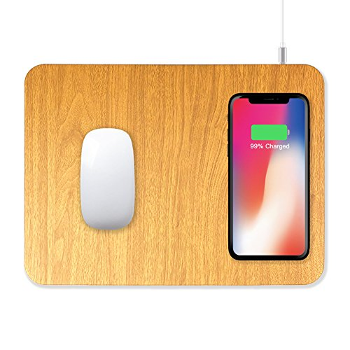 ZeniART Smartphone Wireless Charger & Mouse Pad 2 in 1 Design for iPhone X / 8 / 8 Plus, Samsung Note 8 / S8 / S8+ / S8 plus / S7 / S6 Edge, Nexus 7 / 6 / 5 & All Qi Enabled Devices [NO AC ADAPTER]