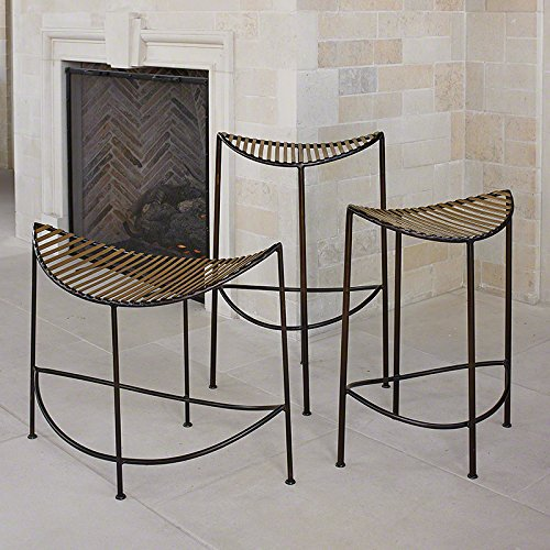Modern Brass Bronze Half Moon Counter Stool 27'' Curved Open Iron Minimalist Gold by Global Views (Image #3)