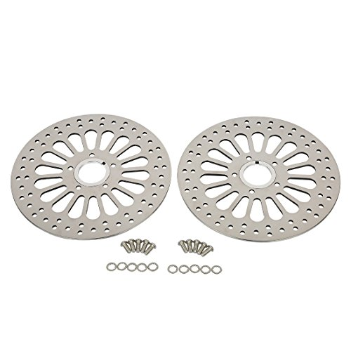 SHARKROAD 11.5'' Front Brake Rotors Dual and Bolts Set Super Spoke Polished Disc For 1984-2013 Harley Touring by SHARKROAD