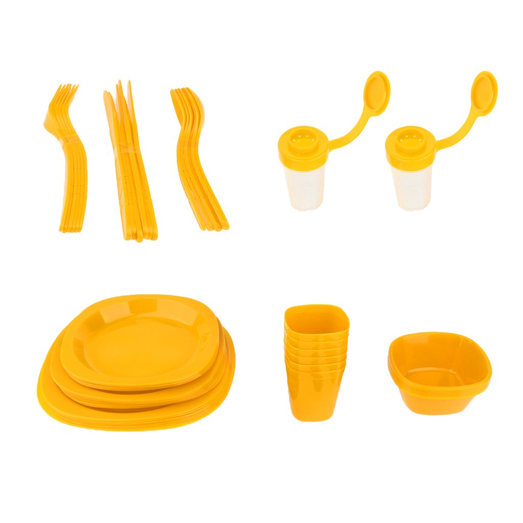 Lightweight Plastic Picnic Dinnerware Set Full Set for Outdoor Camping Picnic BBQ Family Reunion Garden Party with Portable Carry Box - Yellow, 25.5x25x18cm by Flameer