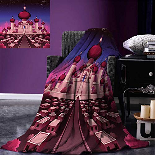 smallbeefly Fantasy Throw Blanket Arabian Castle at Night Oriental Fairy Tale Palace Landscape Illustration Warm Microfiber All Season Blanket Bed Couch 50''x30'' Indigo Magenta Pink by smallbeefly