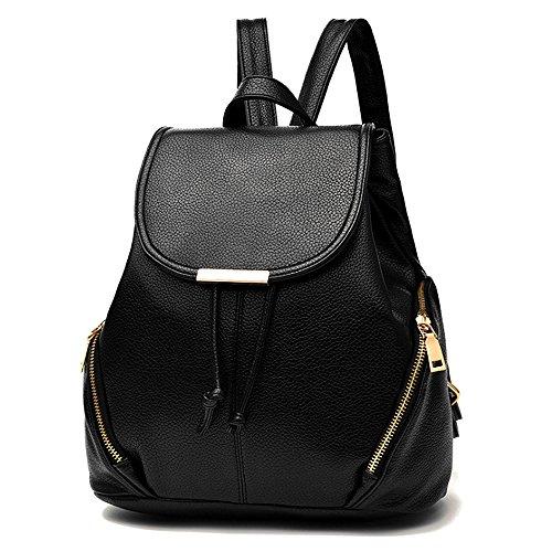 (JVP1028-B) Mujeres Luc PU cuero negro anillo impermeable 3way bolso trasero bolso de hombro simples grandes capacidades viaje atrás Moda popular lindo ligero viajero de la escuela Negro