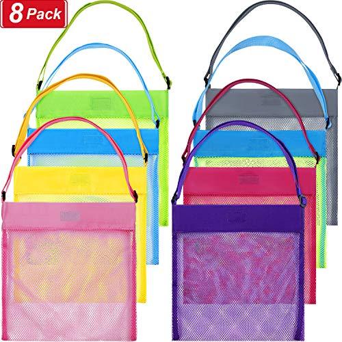 meekoo 8 Pieces Colorful Mesh Beach Bags Seashell Bags Beach Shell Bags for Treasure Shell Toy Storage (Size Set 1, Color Set 1)