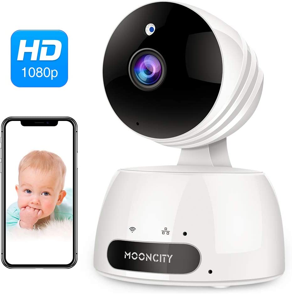 WiFi Home Security Camera with Pan Tilt Zoom, 1080P Wireless IP Indoor Camera with 2 Way Audio,Motion Detection,Night Vision for Pet Baby Monitor White