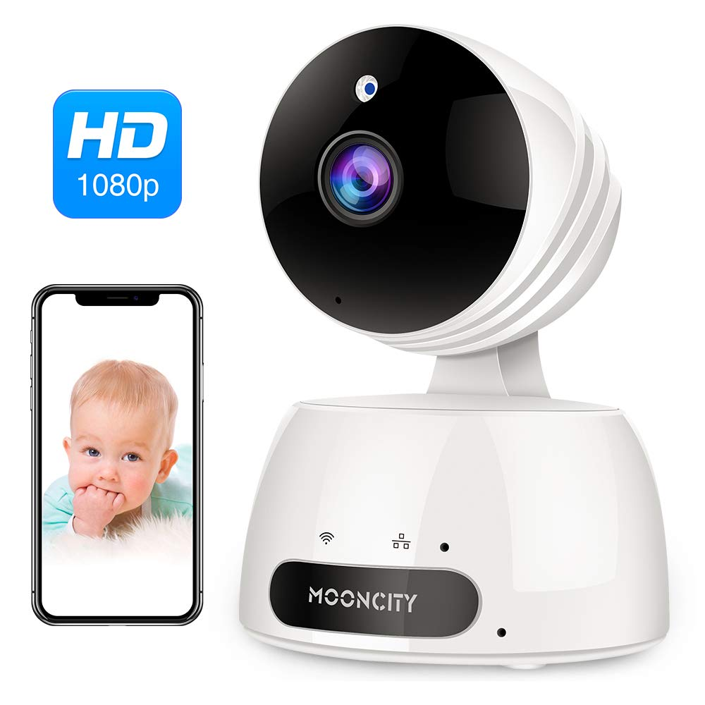WiFi Home Security Camera with Pan Tilt Zoom, 1080P Wireless IP Indoor Camera with 2 Way Audio,Motion Detection,Night Vision for Pet Baby Monitor (White) by Mooncity