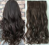 One Piece Wavy Curly Half Head Clip in Hair Extensions Solid Color DL (Darkest brown)