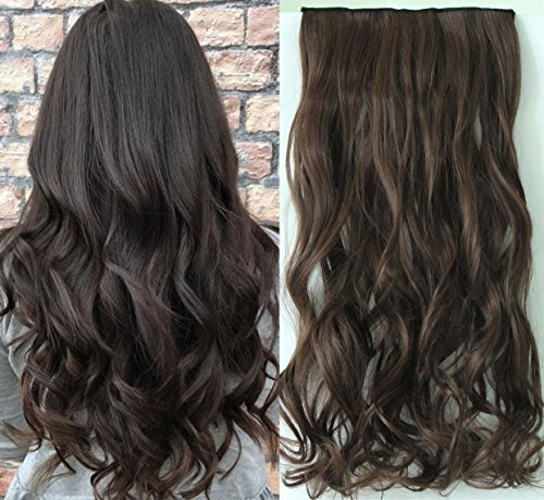 One Piece Wavy Curly Half Head Clip in Hair Extensions Solid Color DL (Darkest brown) by DevaLook Hair Extensions