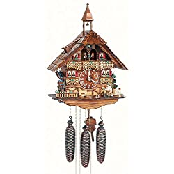 Anton Schneider Cuckoo Clock Black Forest house with moving wood chopper and mill wheel