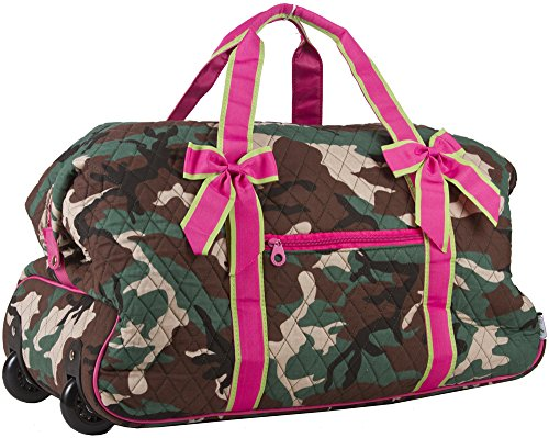 51d42bac5374 Ever Moda Pink Green Camo Rolling Wheeled Quilted Duffle Bag 22-inch ...
