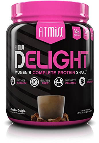 FitMiss Delight Protein Powder, Healthy Nutritional Shake for Women, Whey Protein, Fruits, Vegetables and Digestive Enzymes, Support Weight Loss and Lean Muscle Mass, Chocolate, 1.2-Pound ()