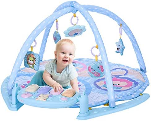 Baby Learning Mat -Big Baby Game Pad with Extra-Soft Mat Piano, Microphone, Cushion 5 Activity Toys, Comfortable Crawling Carpet- Learning Mat Baby Crib for Baby [Ship from USA Directly]