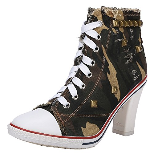 Boots Fashion Chunky Up Ankle Rivet Army Lace Women's High Sneakers Canvas Heel Fereshte Chunky B Green stiletto tz7q8wf