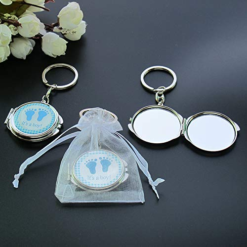 12 PCS Baby Shower Mini Compact Mirror Keychain Favor with Organza Bag Blue Footprint Design for Boy