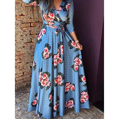 Floral Print Azul 6XL S Slim Fit Vestido de Redondo Retro de de Cinturón C Cuello Vestido Playa Larga Falda Mujeres Vestido xwqAfXYw