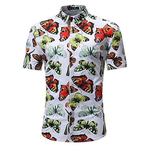 [해외]Vickyleb Button Down Shirt Men Short Sleeve T-Shirts Butterfly Printed Blouse Summer Casual Tops Slim Fit Shirt / Vickyleb Summer Shirts Hawaiian Shirt for Men Shortsleeve Front-Pocket Casual Button Down Surf