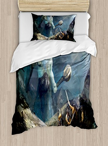 Lunarable Viking Duvet Cover Set, Heroes of Valhalla with Mythological Frost Giant Norse Culture Watercolor Design, Decorative 2 Piece Bedding Set with 1 Pillow Sham, Twin Size, ()