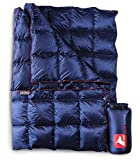 Horizon Hound Down Camping Blanket - Outdoor Lightweight Packable Down Blanket Compact Waterproof and Warm for Camping Hiking Travel - 650 Fill Power (Midnight Blue, Large)