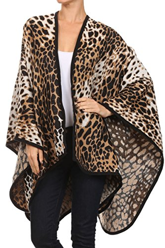 ReneeC. Women's Print Open Front Winter Fashion Cardigan Sweater Poncho (One Size, (Leopard Jumper)