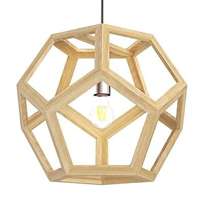 Tomons Hollow Design Wood Ceiling Pendant Lamp, Geometry Shape, E26/E27 Bulb Base, 60 Watts Incandescent Bulb, 12 Watts LED Bulb For Dining Room, Living Room, Bedroom, Study Room - PL1002